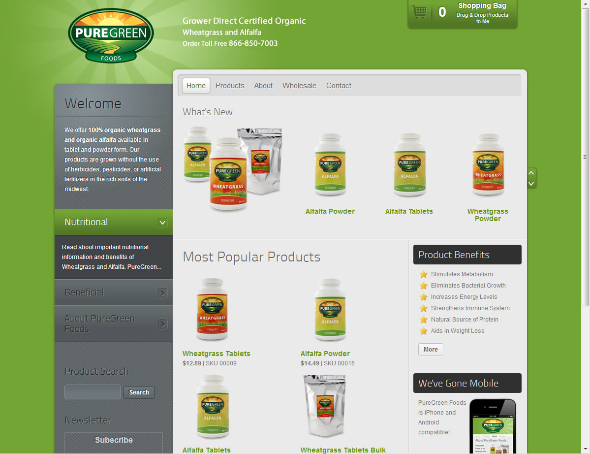 Pre-Production Web Site for PureGreenFoods