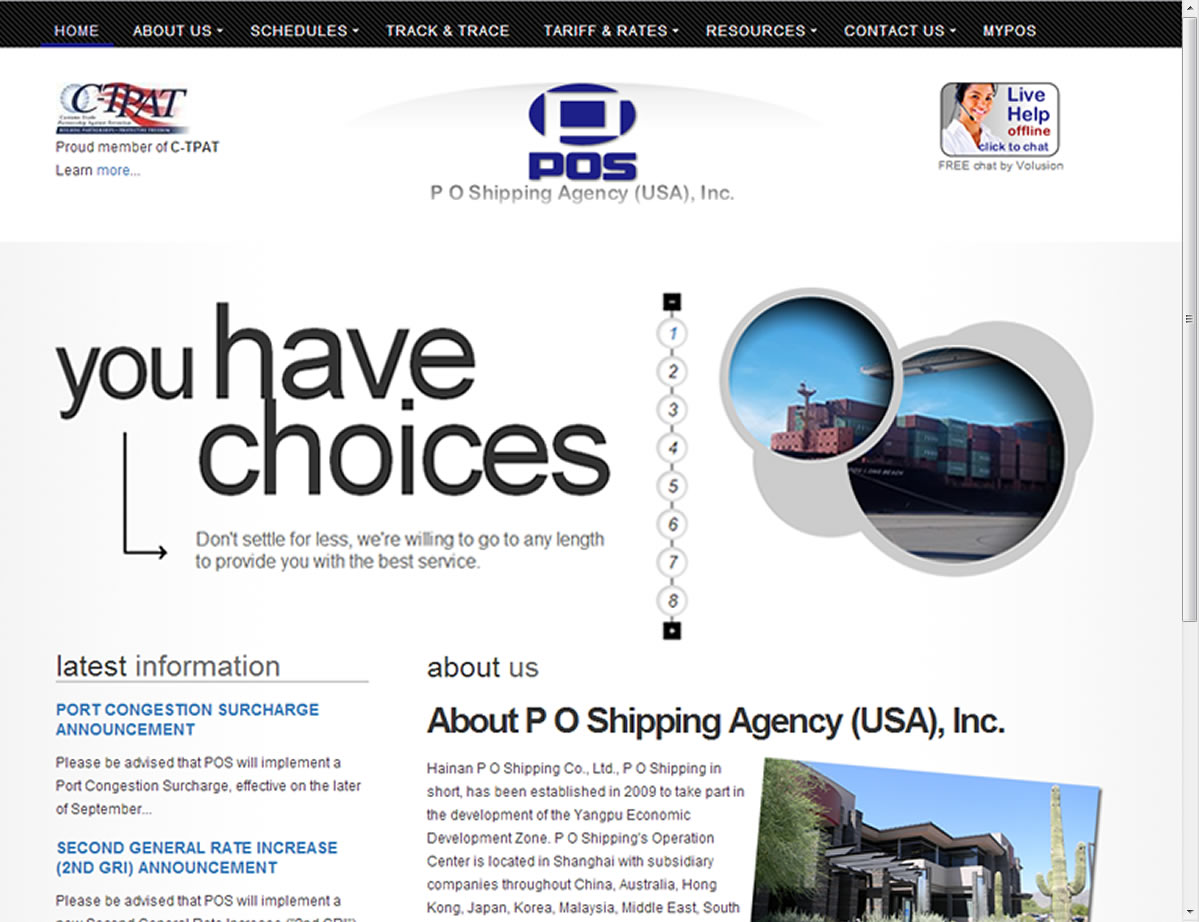 P O Shipping Agency (USA), Inc. Web Site